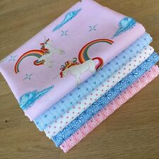 UNICORN & RAINBOW Fat Quarter Bundle Riley Blake Quilting Fabric PINK BLUE GIRLS