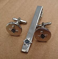 Masonic Cuff Links Tie Clip Set,Silver Plated,Silver/Blue with Gift Box