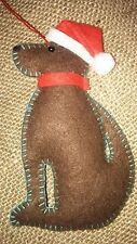 CHOCOLATE LABRADOR DOG handcrafted DOOR HANGER felt Christmas tree decoration