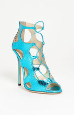 Jimmy Choo DIFFUSE Strappy Sandals Shoes Sz 36.5 Metallic BLUE Snakeskin Leather