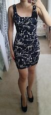 Express Black Satin Floral Ruched Rouched Pleated Sleeveless Bodycon Dress S 4