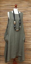LAGENLOOK LINEN OVERSIZE LAYERING LONG TUNIC-DRESS*DUSTY GREEN*SIZE L-XL-XXL