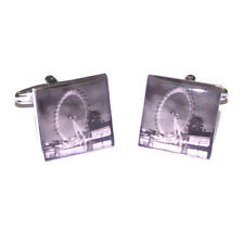 Silver Cufflinks With The London Eye South Bank Picture & Gift Pouch Present