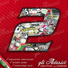 Adesivo Stickers NUMERO 2 moto auto cross gara STICKER BOMB 5 cm