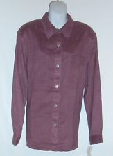 Alfred Dunner Ladies Faux Suede Long Sleeve Blouse Jacket Plum Sixteen (16) NWT