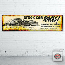 STOCK CAR RACING Banner  –  heavy duty for workshop, garage, man cave retro