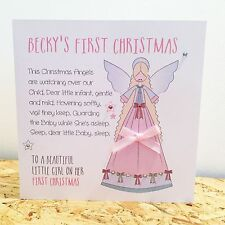 Personalised 1st First Christmas Card Girl Daughter Granddaughter Angel Xmas