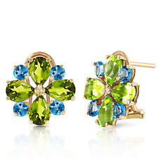 4.85 Carat 14K Solid Gold French Clips Earrings Peridot Blue Topaz