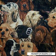 BonEful Fabric FQ Cotton Cranston VTG Puppy Breed Lab Sheep Pointer Hunting DOG