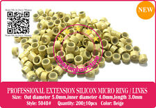 5040# Silicon Lined Copper Micro Link Ring Bead to I-Tip Prebonded Hair-Blonde