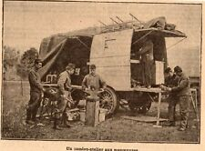 IMAGE 1912 PRINT MANOEUVRES MILITAIRE CAMION ATELIER
