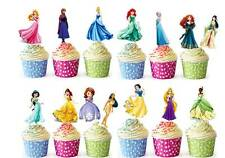 28 DISNEY PRINCESS Edible Cup Cake Fairy Toppers Wafer STAND UP Decorations