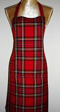 APRON, ATTRACTIVE RED SCOTTISH TARTAN. FRONT POCKET.'Made in Scotland' GIFT IDEA