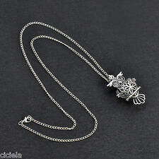 Vintage Hollow Owl Shape Locket Cage Opened Chain Necklace Pendant Lady Jewelry
