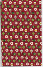 New Red with Christmas Ornaments Bulbs 100% cotton fabric by the Fat Quarter