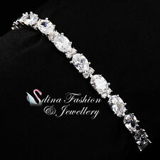 18K White Gold Filled Cubic Zirconia Clear Oval Cut Silver Tennis Bracelets