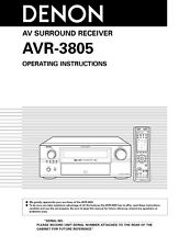 Denon AVR-3805 AV Receiver Owners Manual