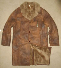 SHEEPSKIN SHEARLING Wool LEATHER Trench Coat DISTRESSED BROWN Jacket NEW Mens XL
