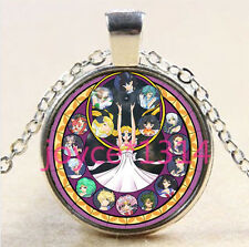Moon Princess Stained Cabochon Tibetan silver Glass Chain Pendant Necklace @2866