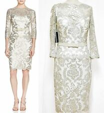 Tadashi Shoji  Feather Sequined Lace Belted  Sheath Dress Size 16 $388