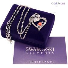 Collana donna argento Swarovski Elements originale cristallo cuore rosso mamma