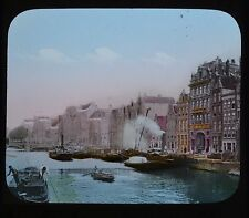 Dutch Colour Glass Magic Lantern Slide Amsterdam On The Amstel Netherlands