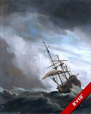 SHIP IN A SQUALL ROUGH SEA SEASCAPE OCEAN SCENE PAINTING ART REAL CANVAS PRINT