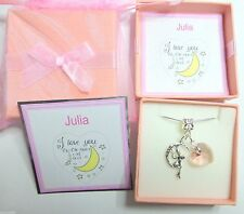 """I Love you to the Moon and Back"" Encanto De Luna y Rosa Collar Corazón"