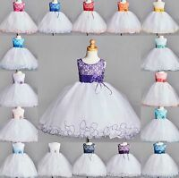 NEW Lace Tulle Dress S M L XL 2 4 6 8 10 12 14 Flower Girl Wedding Easter #0024
