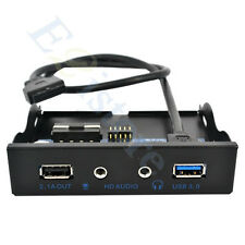 Computer Front Panel 2.1A Power Charging + USB 3.0 Hub + HD Audio MIC Headset