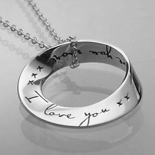 GENUINE Sterling Silver I Love You More Eternity Circle Mobius Pendant W/GiftBox