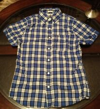 Abercombie & Fitch Short Sleeve Sport Shirt Muscle Fit Plaid Sz Small Blue Grey