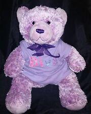 """Build A Bear Purple Teddy Bear Plush 16"""" Stuffed Animal Diva Shirt Included"""