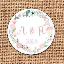 Wedding favour stickers save the date personalised  120 floral shabby chic d8