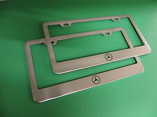 """(2)NEW """" MERCEDES-BENZ LOGO """" Stainless Steel license plate frame +screw caps"""