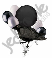 7 pc Black Crow Happy Halloween Balloon Bouquet Party Decoration Bird Raven