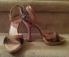 Dior Beige Satin Evening Shoes With Black Lace Detailing, Beautiful! NEW! 37