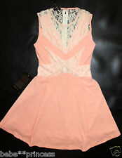 NWT bebe coral flare lace deep v neck side cutout flare top dress S small 4 hot