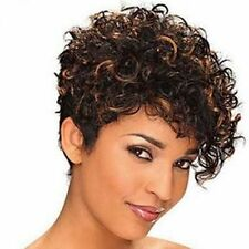Trendy Short Shaggy Kinky Curly Black Brown Mixed Synthetic Wig Hair