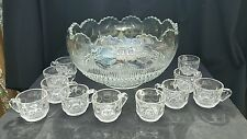 EAPG U.S. Glass MANHATTAN Punch Bowl Set & 11 Cups. Tiffin Franciscan
