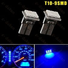 9 SMD 5050 LED T10 TOP WEDGE PARKING INDICATOR LIGHT CAR BIKE - BLUE- 2PC