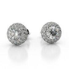 2 cts D VVS2 Round Natural Diamond Halo Earrings Studs 18K White Gold Screw Back