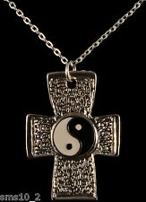 Combined Yin and Yang Enamel & Peace Symbol Cross Pendant Necklace  CJN1045