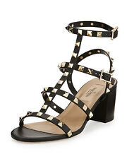 Valentino AUTH NIB Rockstud Caged Triple Strap Sandals 37 City 60MM Block Heels