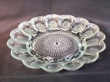 Vtg Indiana Glass Deviled Egg Oyster Thousand Eyes Hobnail Plate Wedding Old