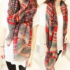 New Lady Vintage Women Long Soft Cotton Voile Print Red Scarves Shawl Wrap Scarf