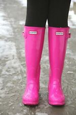 Hunter Cerise Pink Women's Original Tall Gloss Rain Boots size US 10 Wellington