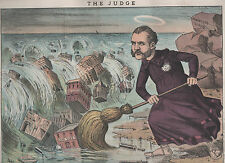 Orig 1884 Print Vice Hunter COMSTOCK w/ Broom as Modern St. Patrick in NY City