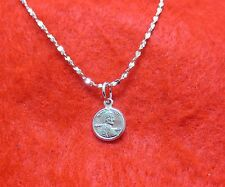 """14KT WHITE GOLD EP 18 INCH 1MM TWISTED NUGGET NECKLACE W/ A MINI """"LUCKY"""" PENNY"""