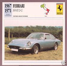 1967-1971 Ferrari 365 GT 2+2 Car Photo Spec Info Stat French Card 1968 1969 1970